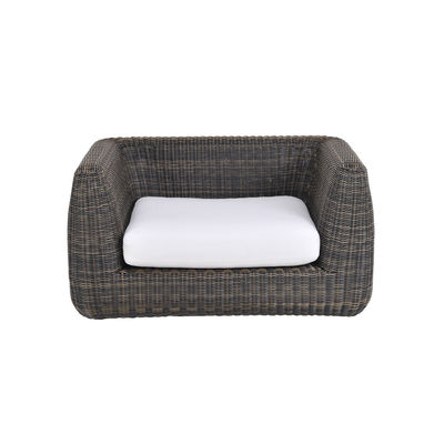 Furniture - Armchairs - Agorà Padded armchair - / Hand-braided polyethylene by Unopiu - Tropical brown / Ecru white cushion - Acrylic fabric, Aluminium, Foam, Waprolace synthetic fibre
