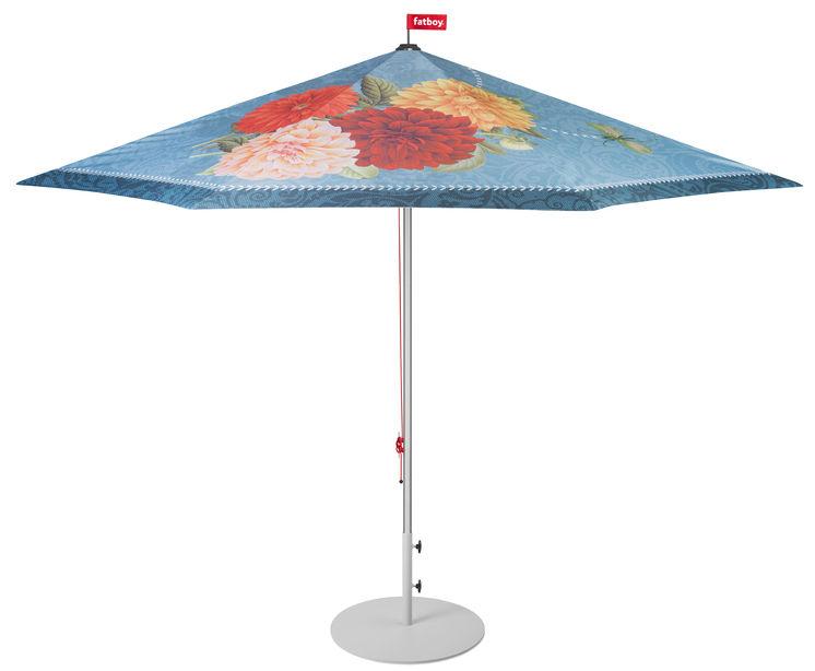 Outdoor - Parasols - Parasol Parasolasido / Ø 350 cm - Fatboy - Bleu foncé / Oiseau & fleurs - Aluminium, Polyester