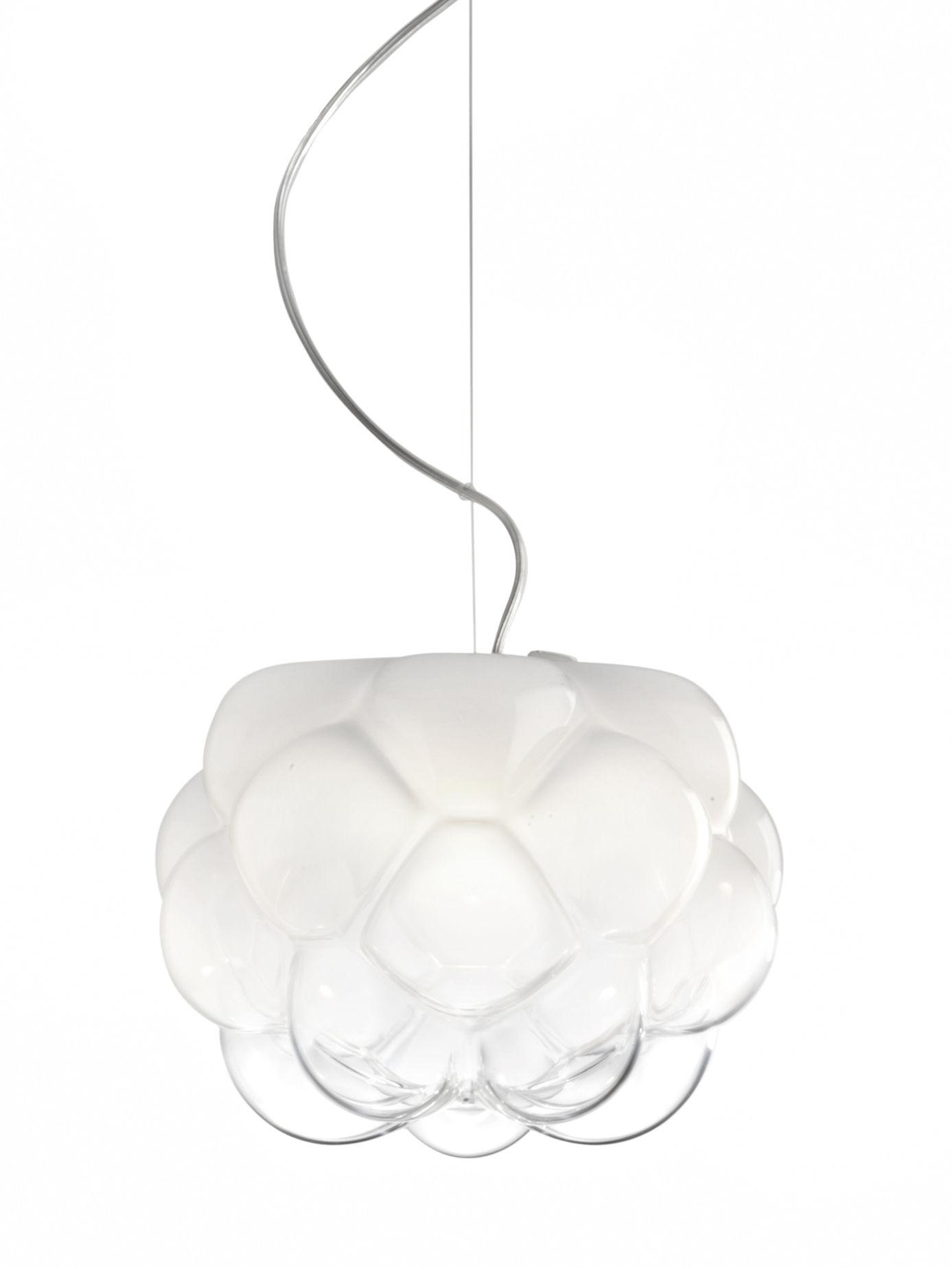Lighting - Pendant Lighting - Cloudy Pendant by Fabbian - Ø 40 cm / White & transparent - Aluminium, Blown glass