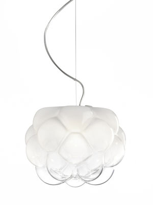 Leuchten - Pendelleuchten - Cloudy Pendelleuchte LED / Ø 40 cm - Fabbian - Ø 40 cm / weiß & transparent - Aluminium, geblasenes Glas