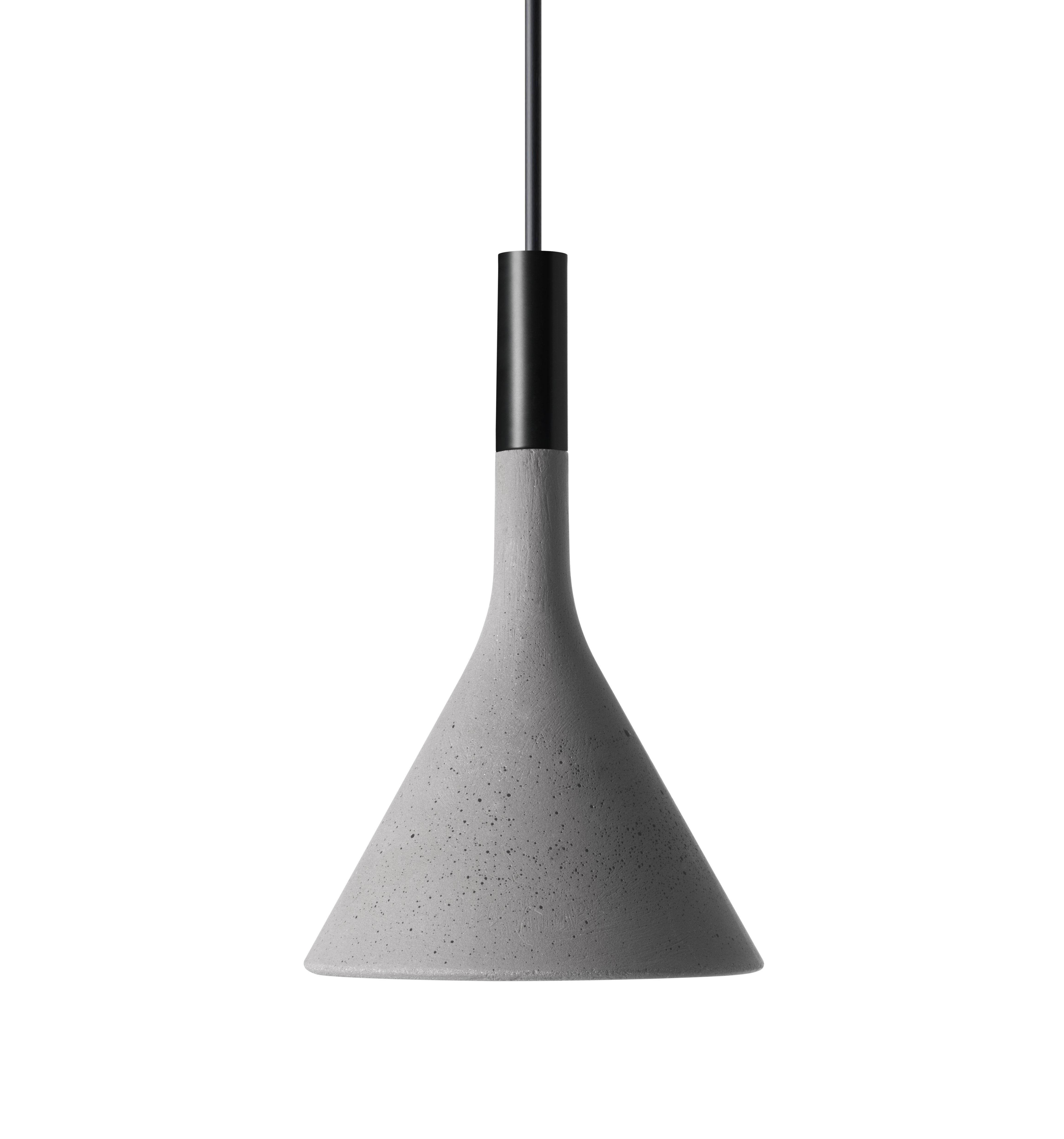 Leuchten - Pendelleuchten - Mini Aplomb Pendelleuchte / Beton - H 21 cm - Foscarini - Zementgrau - Zement
