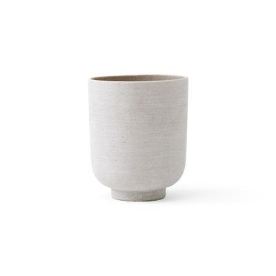 Pot de fleurs Collect SC70 / Ø 15 x H 18 cm - Polystone - &tradition blanc/argent en matière plastique/pierre