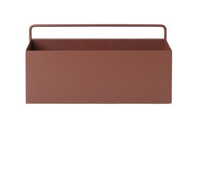 Pot de fleurs Rectangle / L 30,6 x H 15,6 cm - Ferm Living rouge-brun en métal