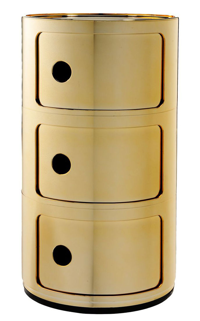 Mobilier - Meubles de rangement - Rangement Componibili / 3 tiroirs - Métallisé - Kartell - Or - ABS