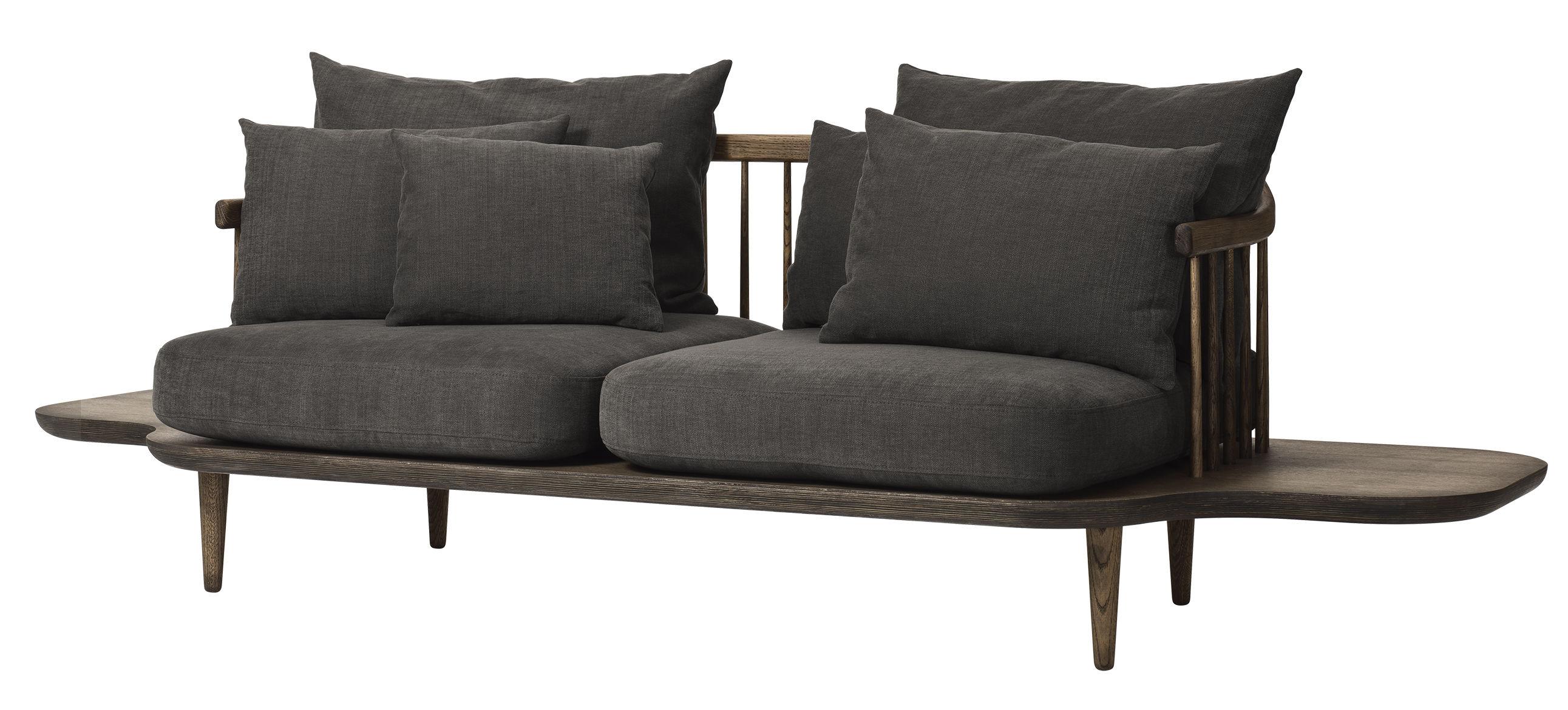 Möbel - Sofas - FLY Sofa / 2-Sitzer - L 240 cm - And Tradition - Dunkles Holz / dunkelgraue Kissen -  Plumes, geölte Eiche, Gewebe, Schaumstoff