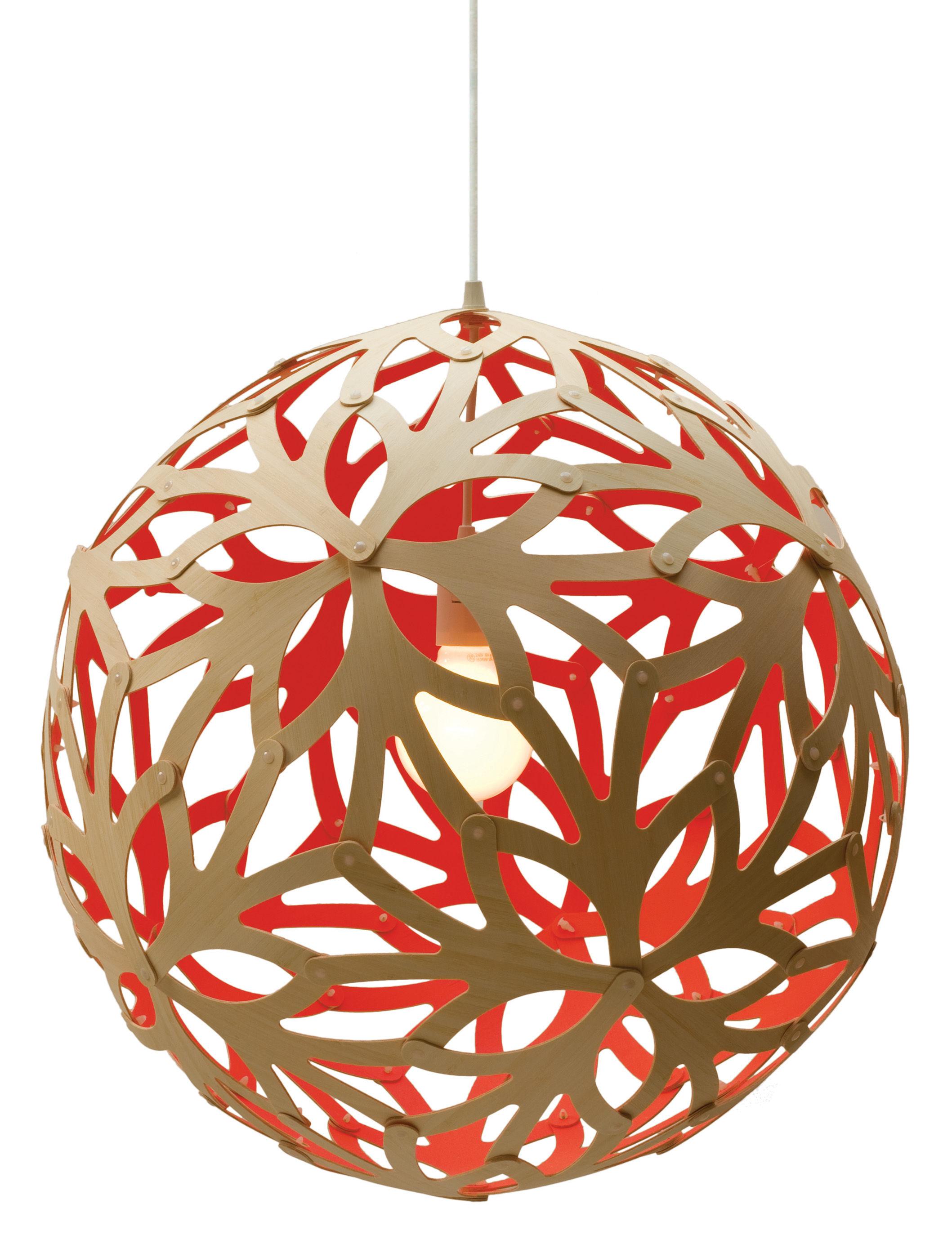 Illuminazione - Lampadari - Sospensione Floral - Ø 60 cm - Bicolore - Esclusiva web di David Trubridge - Rosso / legno naturale - Pino