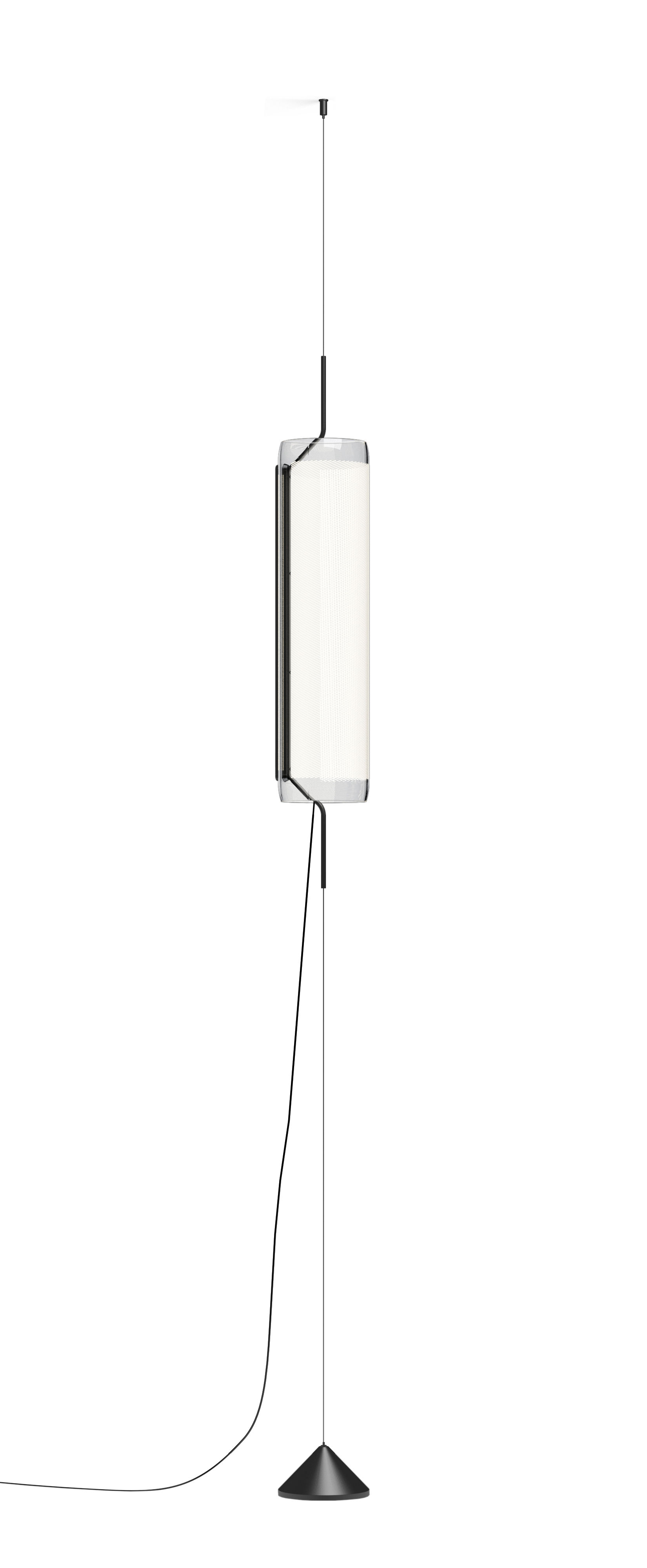 Illuminazione - Lampadari - Sospensione Guise - / Diffusore verticale - LED di Vibia - Laccato grafite opaco - Alluminio, Vetro borosilicato
