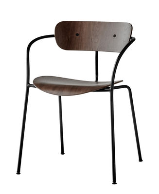 Furniture - Chairs - Pavilion AV2 Stackable armchair - / Lacquered wood by &tradition - Lacquered walnut - Steel, Walnut