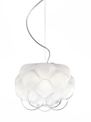 Luminaire - Suspensions - Suspension Cloudy LED / Ø 40 cm - Fabbian - Ø 40 cm / Blanc & transparent - Aluminium, Verre soufflé