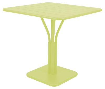 Table carrée Luxembourg / 80 x 80 cm - Pied central - Aluminium - Fermob verveine en métal