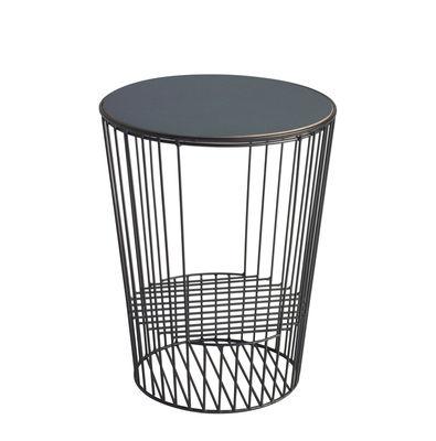 Table d'appoint Ernestin / Porte-revues - Ø 35 x H 44 cm - Hartô noir,noyer en métal