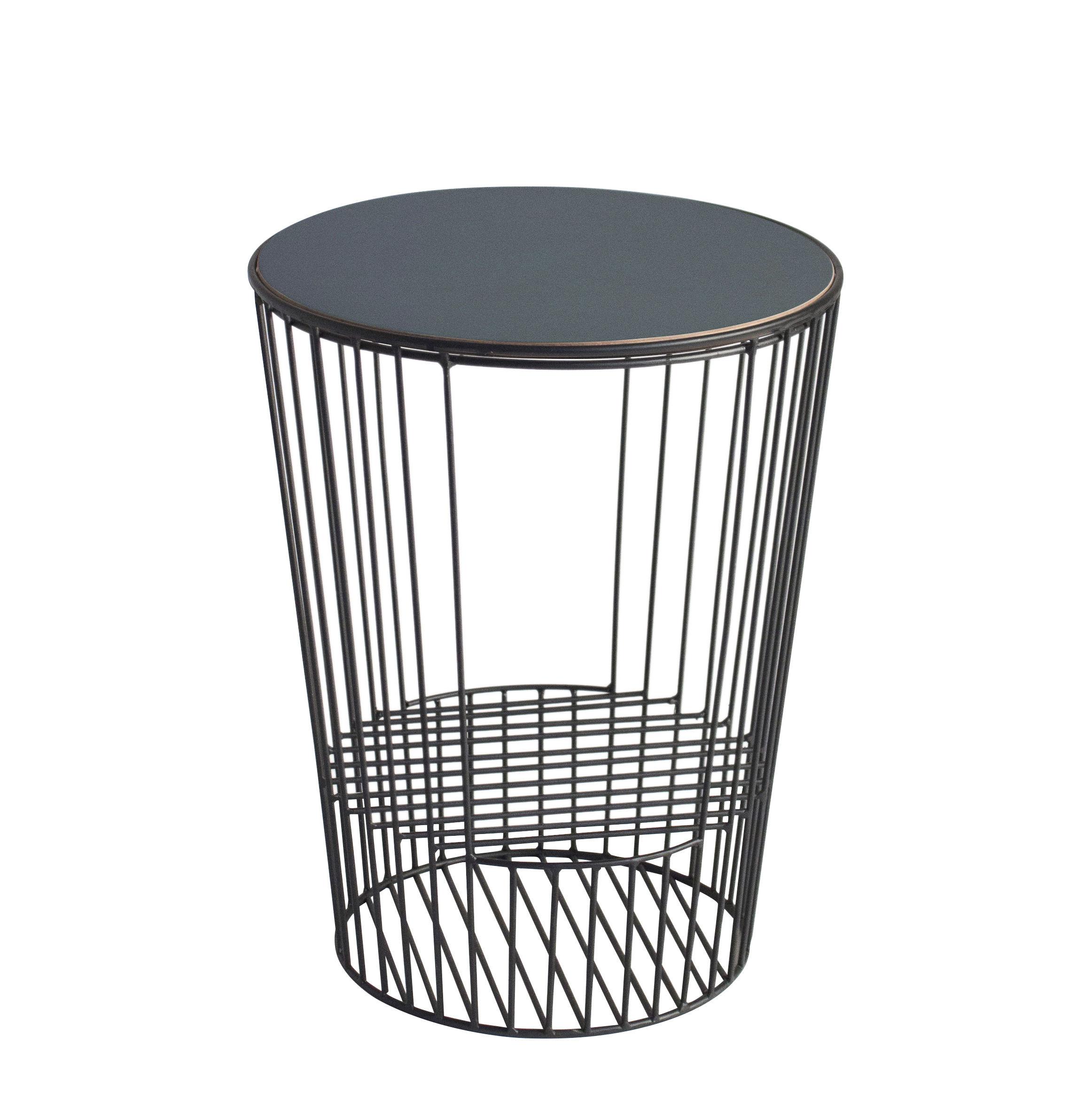 Mobilier - Tables basses - Table d'appoint Ernestin / Porte-revues - Ø 35 x H 44 cm - Hartô - Noir & noyer - Contreplaqué, Métal laqué