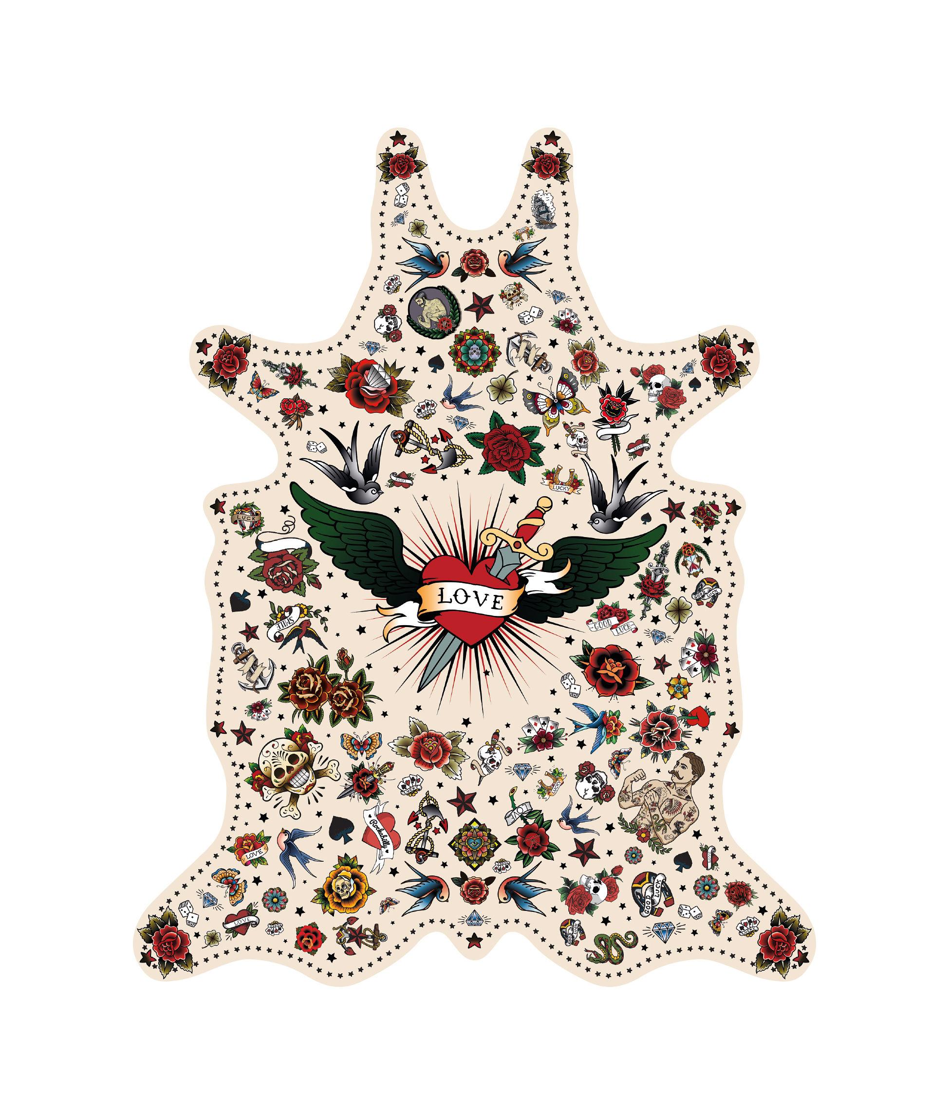 Outdoor - Decorazioni e accessori - Tappeto Tatoo Love - / 126 x 159 cm - Vinile di PÔDEVACHE - Love / Multicolore - Vinile