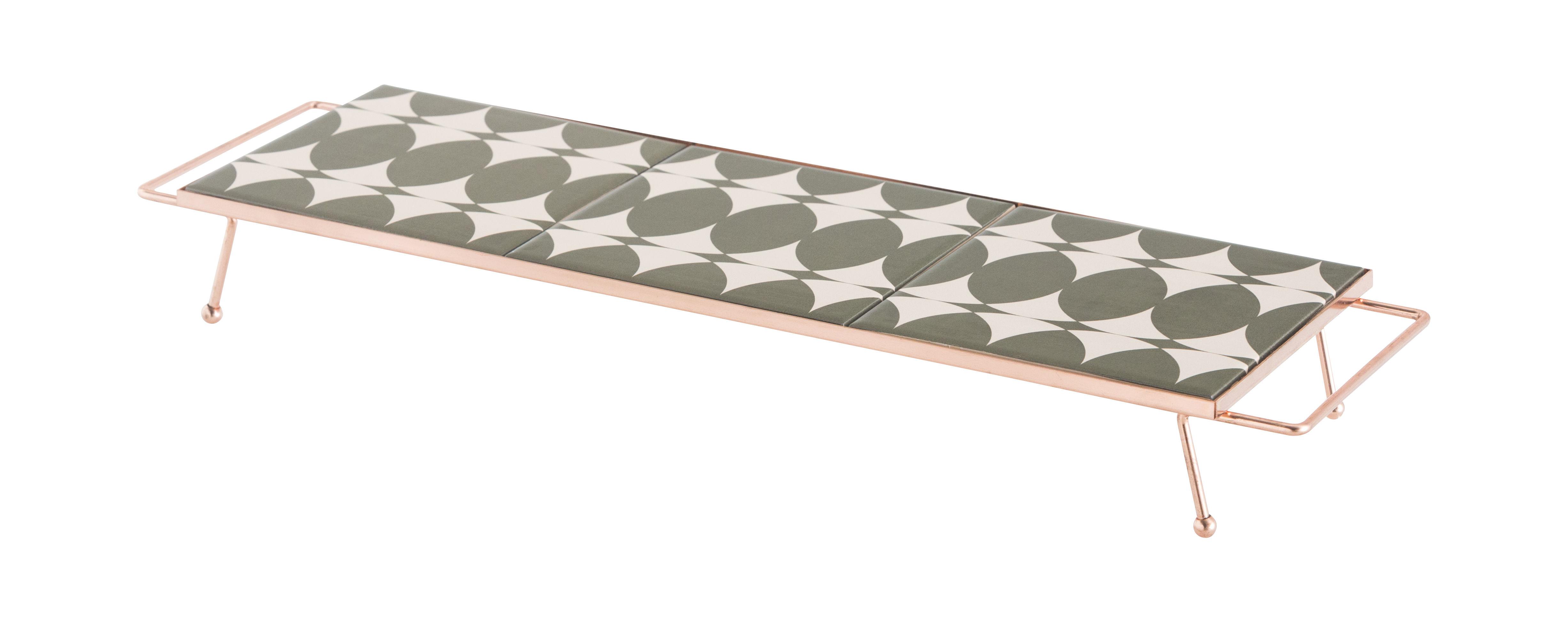 Tableware - Trays - Mix&Match Tray - 45 x 15 cm / Ceramic & copper by Gan - Green & white - Ceramic, Copper plated aluminium