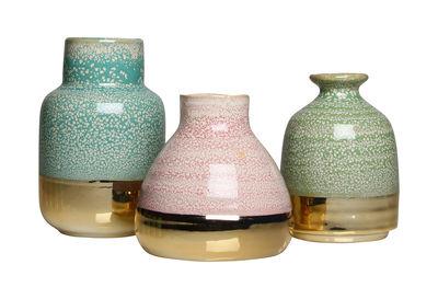 Déco - Vases - Vase Avant / Set de 3 - & klevering - Bleu, Vert, Rose / Or - Céramique