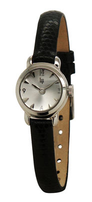 Accessories - Watches - Henriette Chrome Watch - 1960 reissue by Lip - Chromed / Black leather strap - Lizard like leather, Polished chromed steel