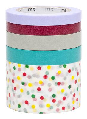Déco - Accessoires bureau - Adhésif décoratif Masking Tape ® / Set 5 rouleaux - Mark's - Mauve,framboise,gris,turquoise,multicolore - Papier de riz