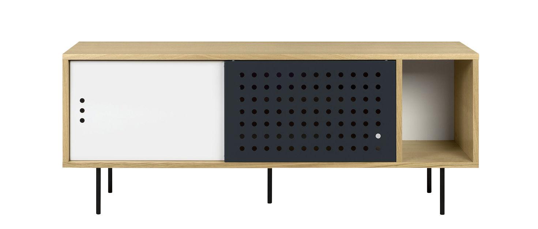 Möbel - Kommode und Anrichte - Amsterdam Dots Anrichte / TV-Möbel - L 165 cm - POP UP HOME - L 165 cm / Eiche, weiß, anthrazit - Eichensperrholz, Metall, mitteldichte bemalte Holzfaserplatte, Panneaux de particules