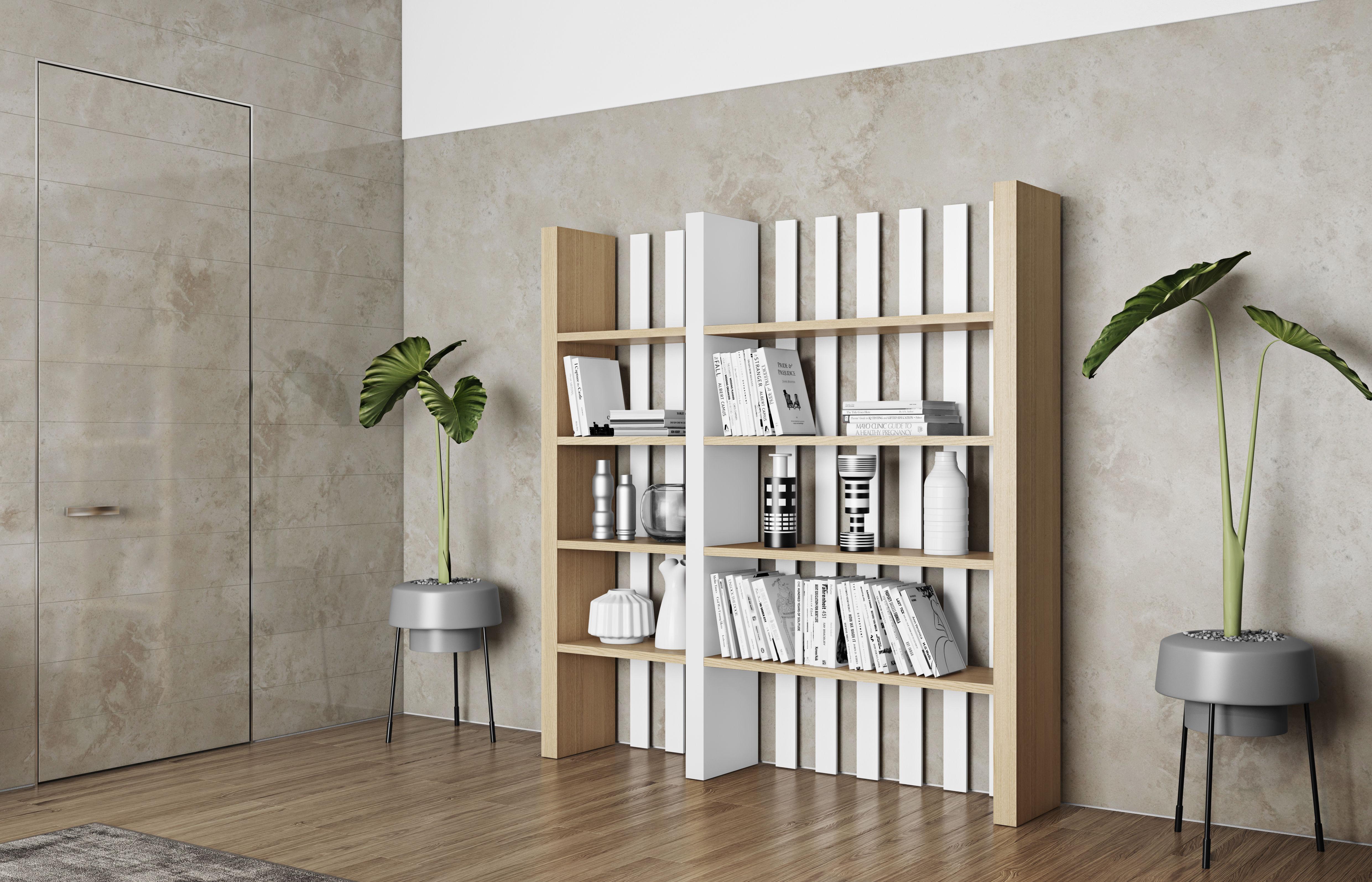 biblioth que stockholm l 182 x h 190 cm ch ne blanc pop up home made in design. Black Bedroom Furniture Sets. Home Design Ideas