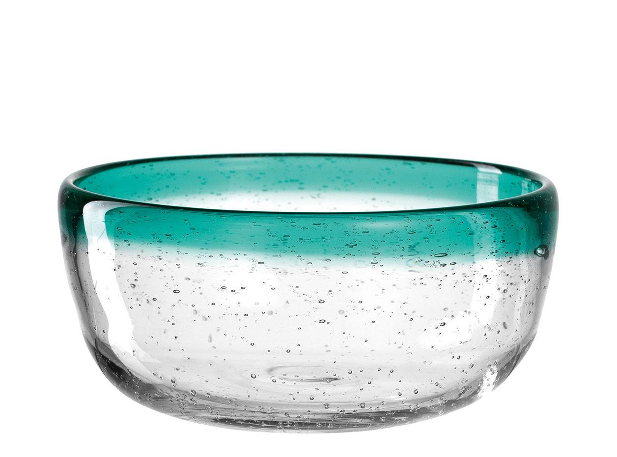 Tableware - Bowls - Burano Bowl - / Ø 13 x H 6 cm - Fait main by Leonardo - Bleu vert lagune - Bubbled glass