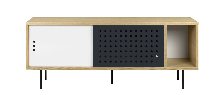 Mobilier - Commodes, buffets & armoires - Buffet Amsterdam Dots / Meuble TV - L 165 cm - POP UP HOME - L 165 cm / Chêne, blanc, anthracite - Contreplaqué chêne, MDF peint, Métal, Panneaux de particules
