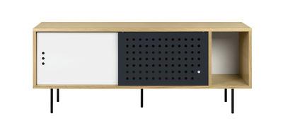 Credenza Amsterdam Dots / Mobile TV - L 165 cm - POP UP HOME - Bianco,Antracite,Quercia naturale - Legno