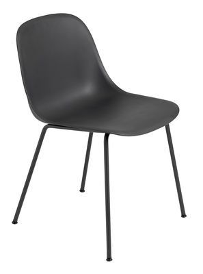 Furniture - Chairs - Fiber Chair - Tube leg by Muuto - Black / Black leg - Painted steel, Recycled composite material