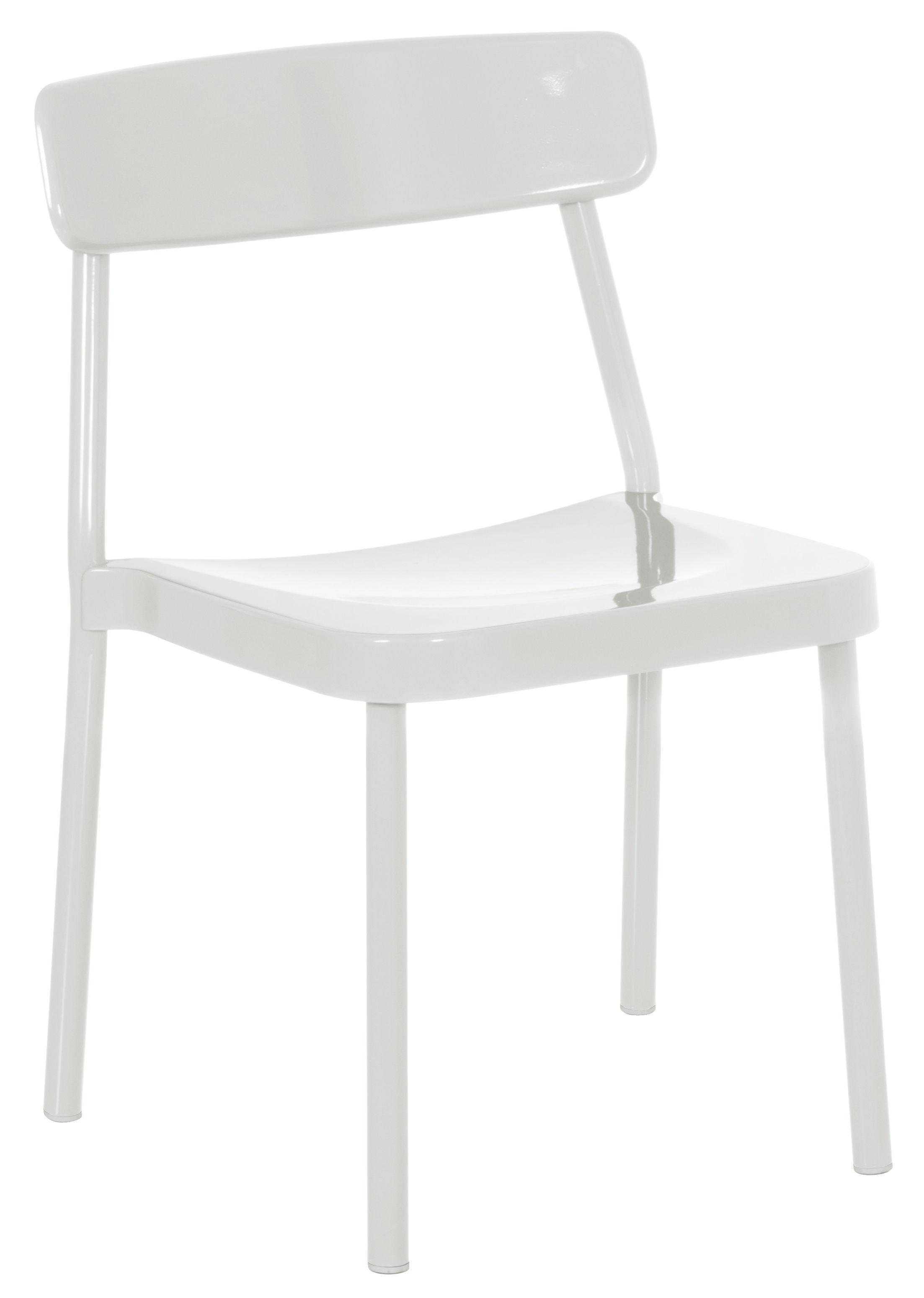 Mobilier - Chaises, fauteuils de salle à manger - Chaise empilable Grace Outdoor / Métal - Emu - Blanc - Aluminium verni