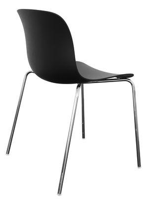 Mobilier - Chaises, fauteuils de salle à manger - Chaise empilable Troy / Plastique - 4 pieds - Magis - Noir / Pieds chromés - Acier chromé, Polypropylène