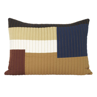 Decoration - Cushions & Poufs - Shay Patchwork Cushion - / Quilted - 60 x 40 cm by Ferm Living - Mustard -  Plumes, Organic cotton, Recycled polyester