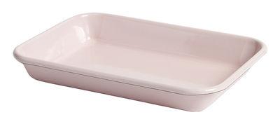 Tableware - Trays - Enamel Dish - / 28 x 19 cm - Enamelled steel by Hay - Light pink - Enamelled steel