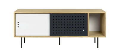 Furniture - Dressers & Storage Units - Amsterdam Dots Dresser - / TV stand - L 165 cm by POP UP HOME - L 165 cm / Oak, white, anthracite - Metal, Oak plywood, Painted MDF, Particle board