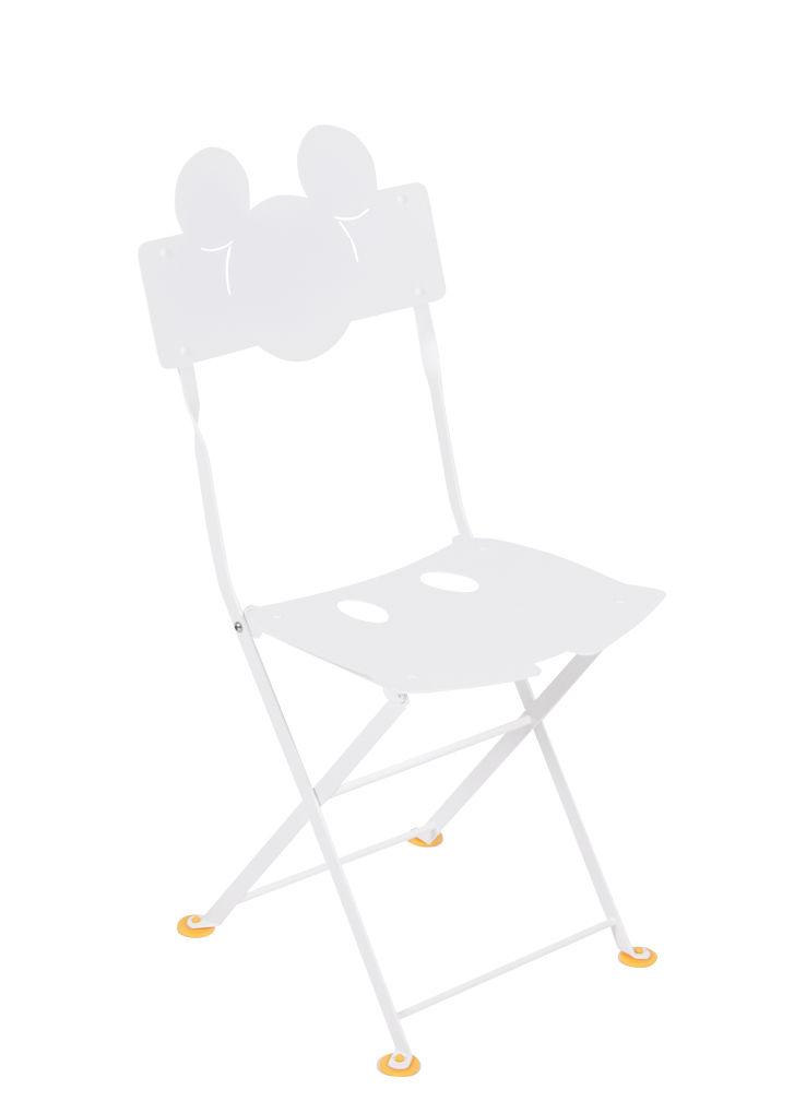 Möbel - Möbel für Kinder - Bistro enfant Mickey Klappstuhl / Metall - Fermob - Baumwollweiß - Behandelter Stahl (Kataphoresebehandlung