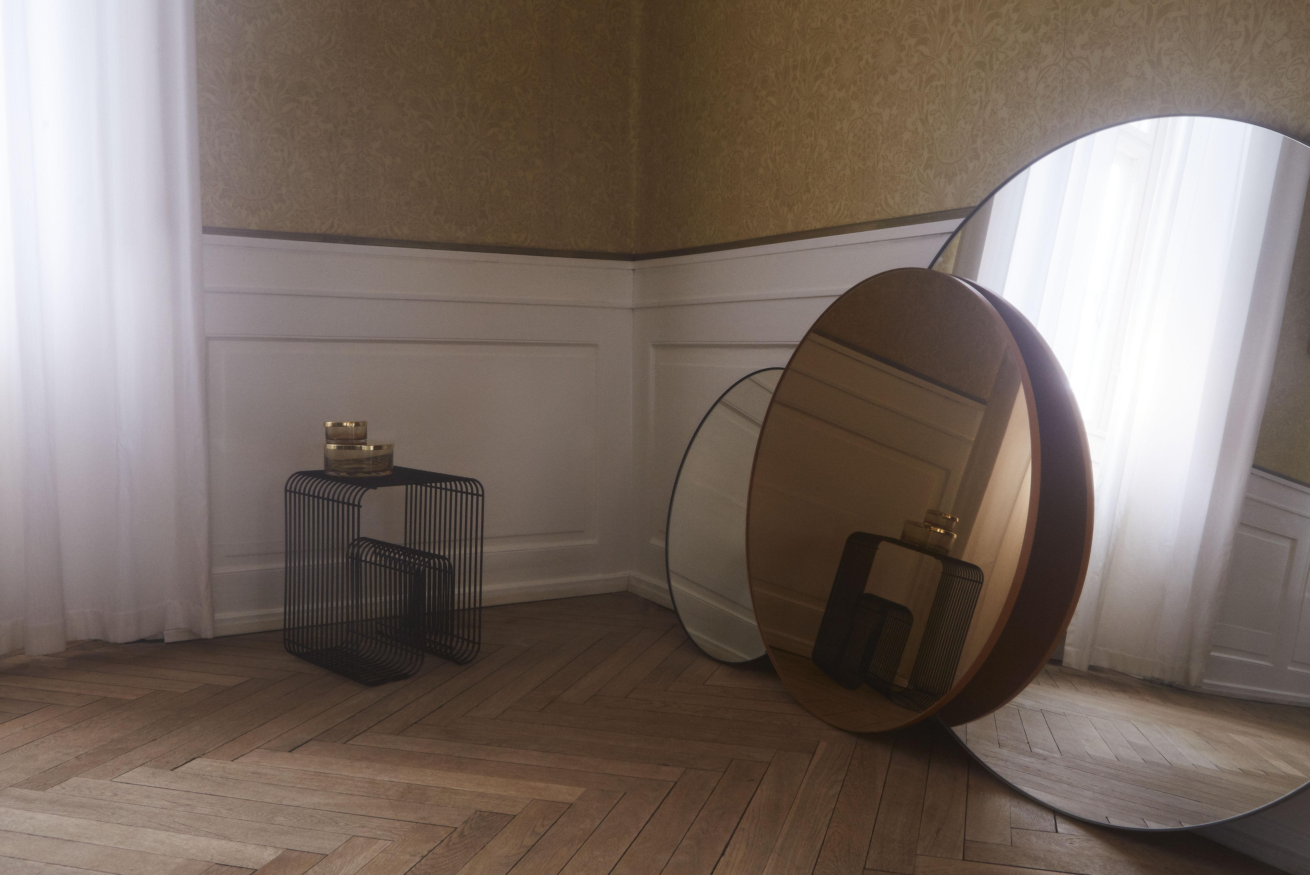 Miroir mural circum medium aytm ambre cadre or 90 made in design for Miroir mural original