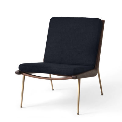 Furniture - Armchairs - Boomerang HM1 (1956) Padded armchair - / Walnut by &tradition - Navy blue (Loop Fabric) - Brass, Fabric, HR foam, Solid walnut
