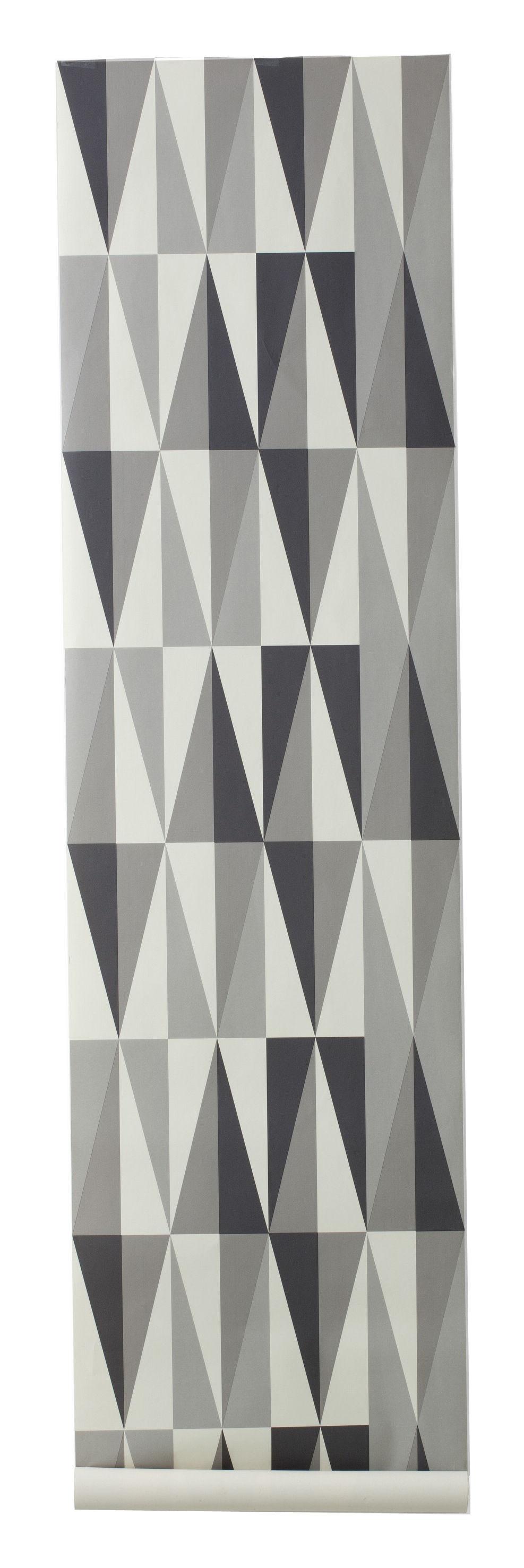 Déco - Stickers, papiers peints & posters - Papier peint Spear / 1 rouleau - Larg 53 cm - Ferm Living - Gris, gris foncé & blanc cassé - Toile intissée