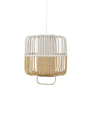 Leuchten - Pendelleuchten - Bamboo Square Pendelleuchte / Größe M - H 43 cm - Forestier - Weiß - Bambus