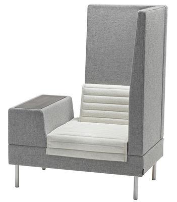 Arredamento - Poltrone design  - Poltrona imbottita Smallroom - / L 100 cm - Angolo destro di Offecct - Grigio - Angolo destro - Acciaio cromato, Espanso, Legno, Tessuto