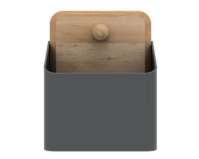 Déco - Corbeilles, centres de table, vide-poches - Rangement mural Pin Box Small / L 12 cm - Universo Positivo - Gris / Chêne naturel - Chêne, Métal laqué