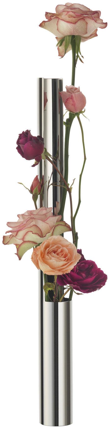 Déco - Vases - Soliflore Flower Vase Tube - Alessi - Acier brillant - Acier inoxydable poli