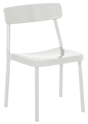 Furniture Chairs Grace Outdoor Stacking Chair Metal By Emu White Varnished