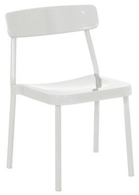 Möbel - Stühle  - Grace Outdoor Stapelbarer Stuhl / Metall - Emu - Weiß - klarlackbeschichtetes Aluminium