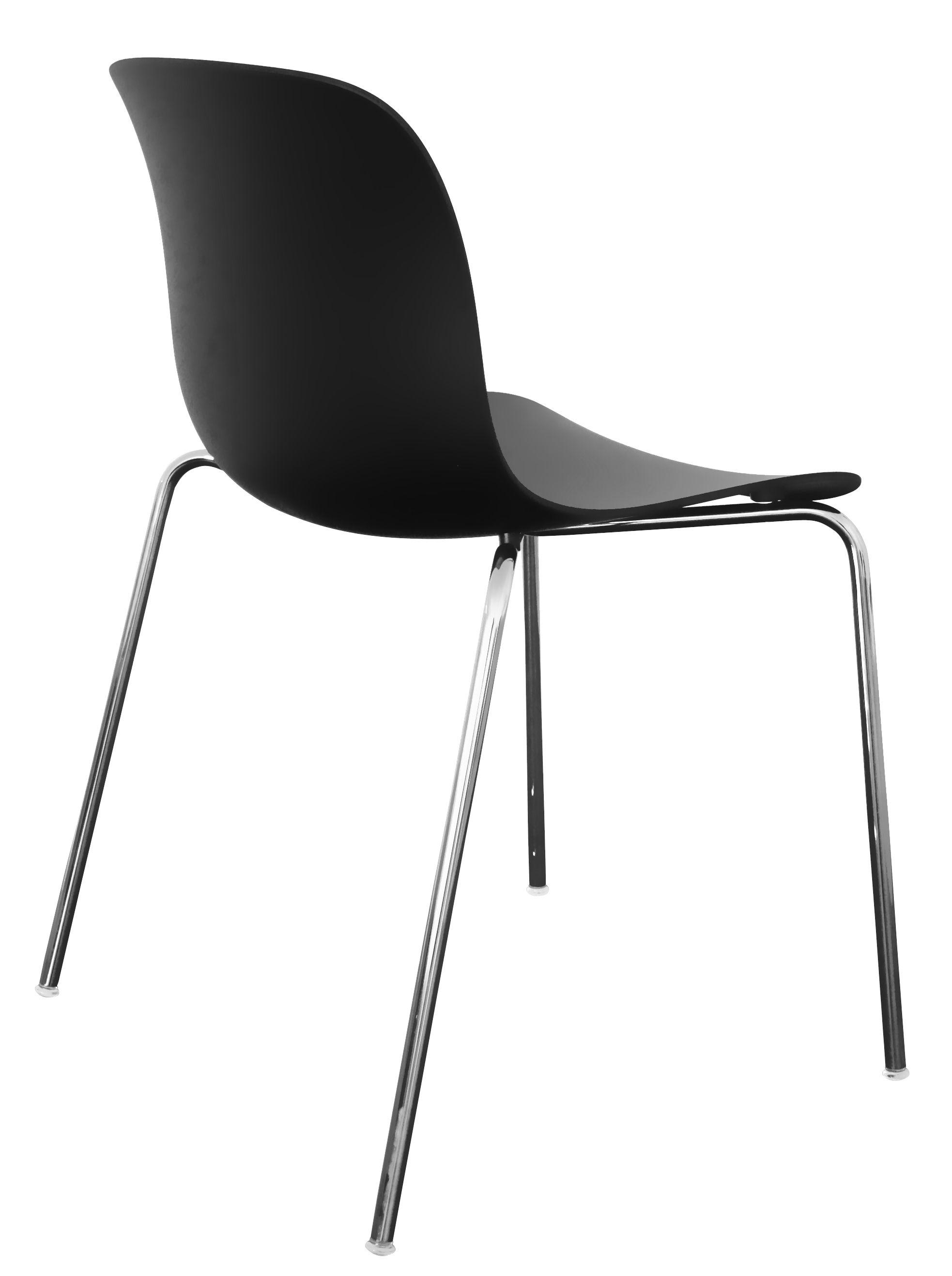 Möbel - Stühle  - Troy Stapelbarer Stuhl / Kunststoff - 4 Stuhlbeine - Magis - Schwarz / Stuhlbeine chrom-glänzend - Polypropylen, verchromter Stahl