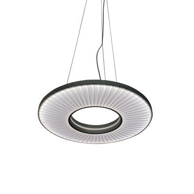 Suspension Iris Horizontale LED / Ø 40 cm - Tissu & éclairage recto-verso - Dix Heures Dix blanc en tissu