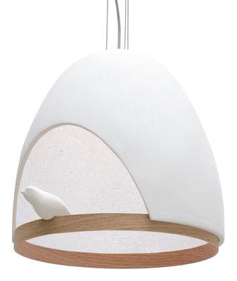 Luminaire - Suspensions - Suspension Oiseau / En plâtre - Compagnie - Blanc / Interieur Blanc - Chêne, Plâtre