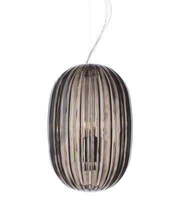 Luminaire - Suspensions - Suspension Plass Media / Ø 34 x H 50 cm - Foscarini - Gris - Polycarbonate