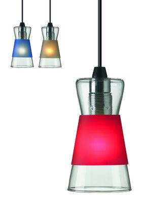 Luminaire - Suspensions - Suspension Pure / Avec 3 bagues colorées interchangeables - Authentics - Bagues : Rouge, Bleu, Noir - Polypropylène, Verre