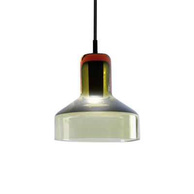 Suspension Stab Light Small / Ø 13 x H 14 cm - Verre artisanal - Danese Light vert-ambre en verre