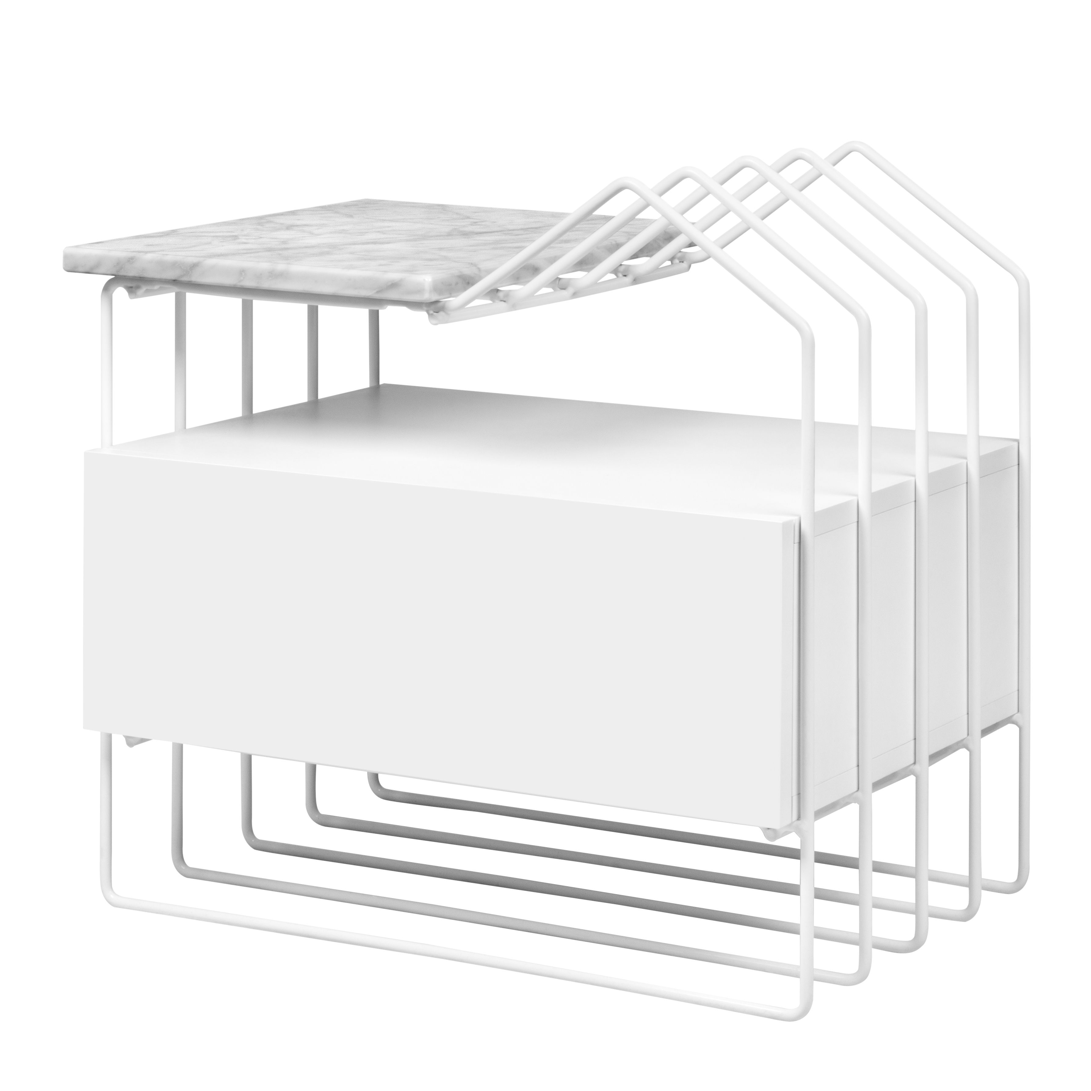 Mobilier - Tables basses - Table d'appoint Romi / Porte-revues & tiroir - Marbre - POP UP HOME - Marbre blanc / Blanc - Marbre de Carrare, MDF peint, Métal laqué