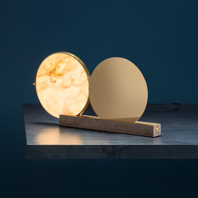 Lighting - Table Lamps - Alchemie Table lamp - / Alabaster & brass by Catellani & Smith - Gold & white alabaster / Base: pink beige - Alabaster, Brass, Medea stone